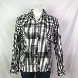 L.L. BEAN LONG SLEEVE OXFORD RELAXED FIT PLAID TOP